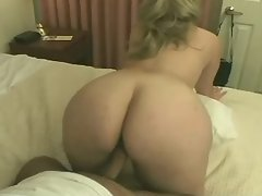 Fat blonde gets cum from black guy