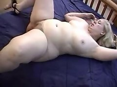Blonde plump lady tempts two dudes